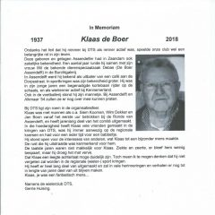 In Memoriam Klaas de Boer
