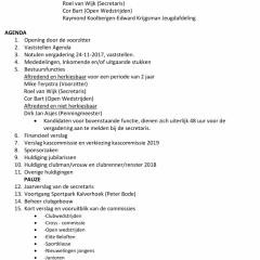Agenda Algemene Leden Vergadering 2018